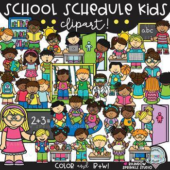 School Schedule Kids Clipart {class schedule kids clipart}.