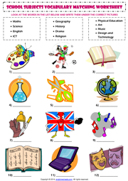 School Subjects Matching Exercise ESL Worksheet.