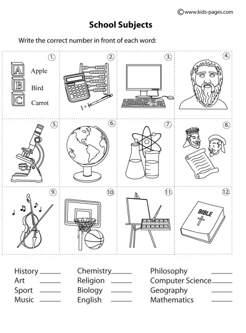 School Subjects Matching B&W worksheets.
