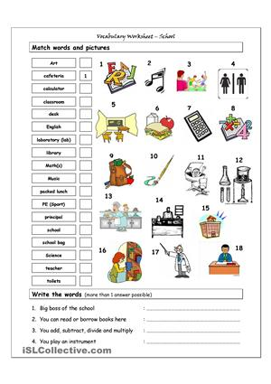 97 FREE ESL school subjects worksheets.