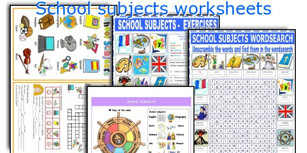 English teaching worksheets: School subjects.