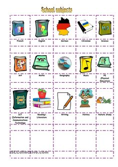 Clipart School Subject Matching Exercise.