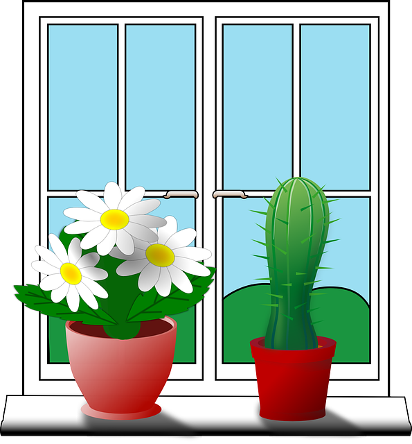 Free vector graphic: Windowsill, Cactus, Flower, House.