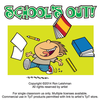 School\'s Out Cartoon Clipart.