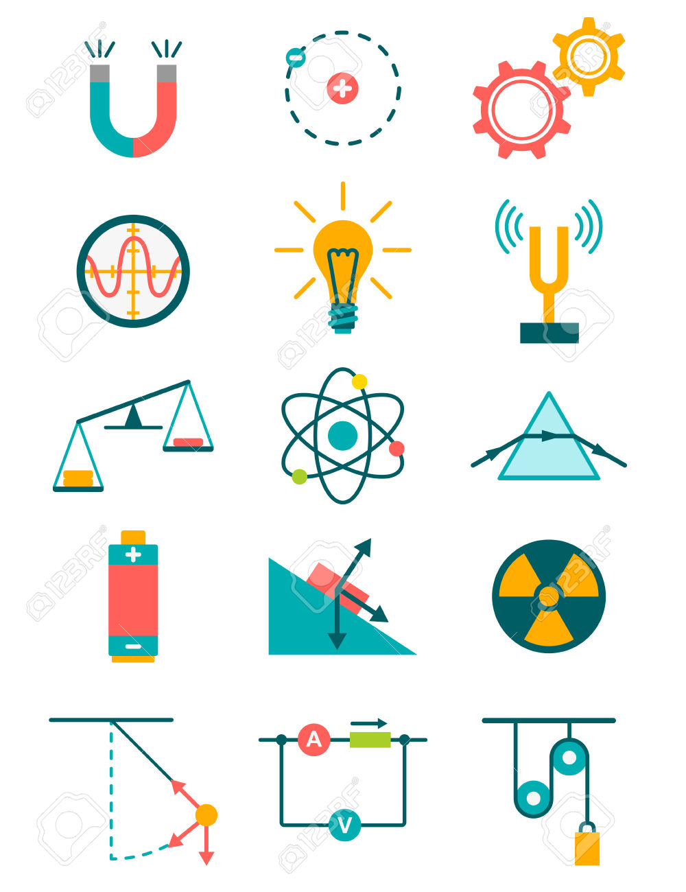 Sciences Et Physique Icons Set. Vector Illustration Clip Art.