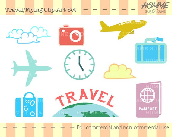 Travel icons clipart, travel clipart, scrapbook clipart.