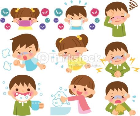 Enfants Malades Rhume Clipart vectoriel.