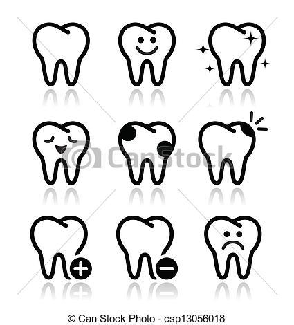Vector Clip Art de Conjunto, iconos, diente, vector, dientes.