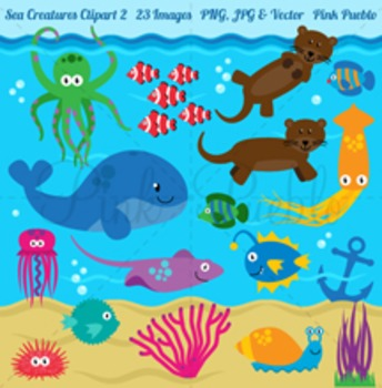 Sea Animals and Sea Creatures Clipart Clip Art.