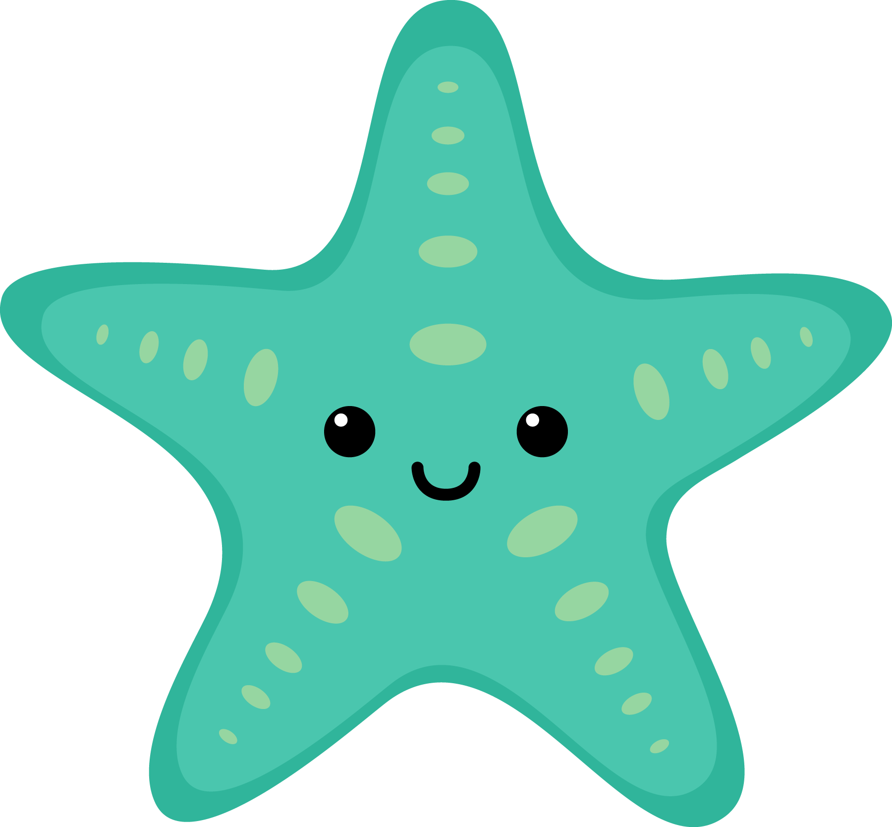 sea star clipart turquoise #1.