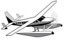 Vector Fishing Boat, jet ski and sea plane clipart.