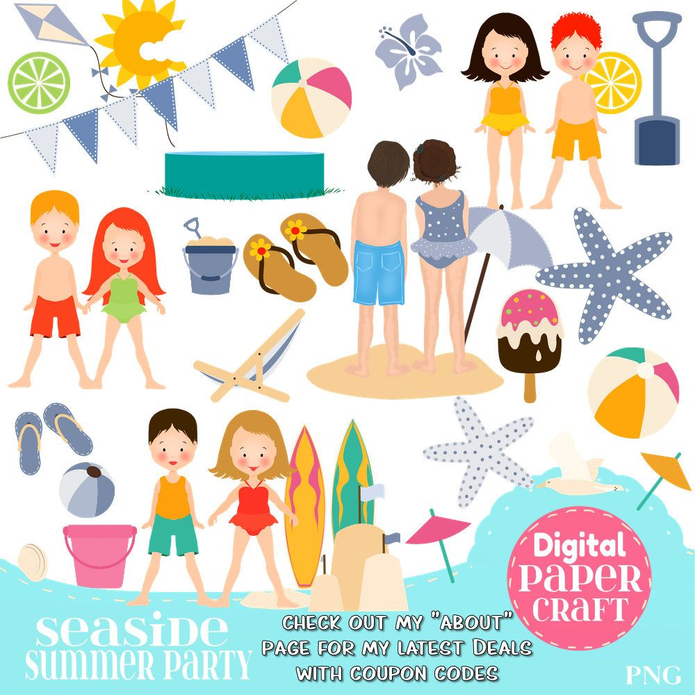 Seaside Clipart, Children Clipart, Kids Clipart, Summer.
