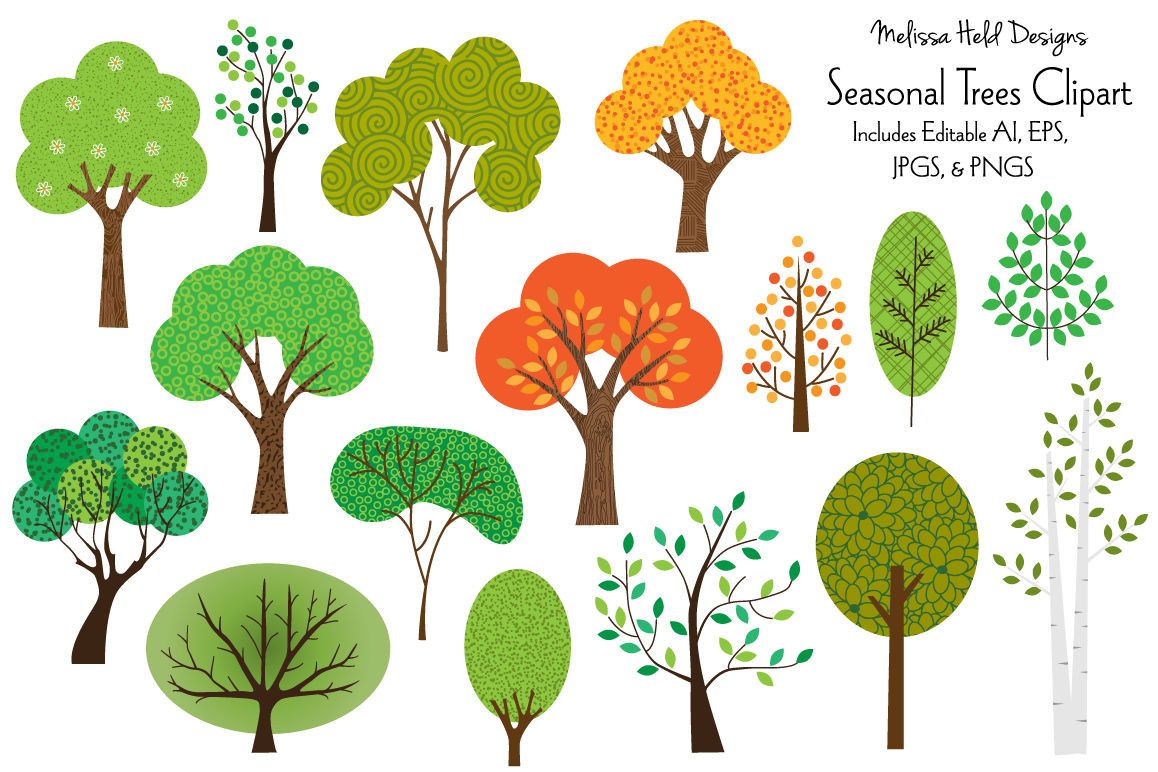 Seasonal Trees Clipart.