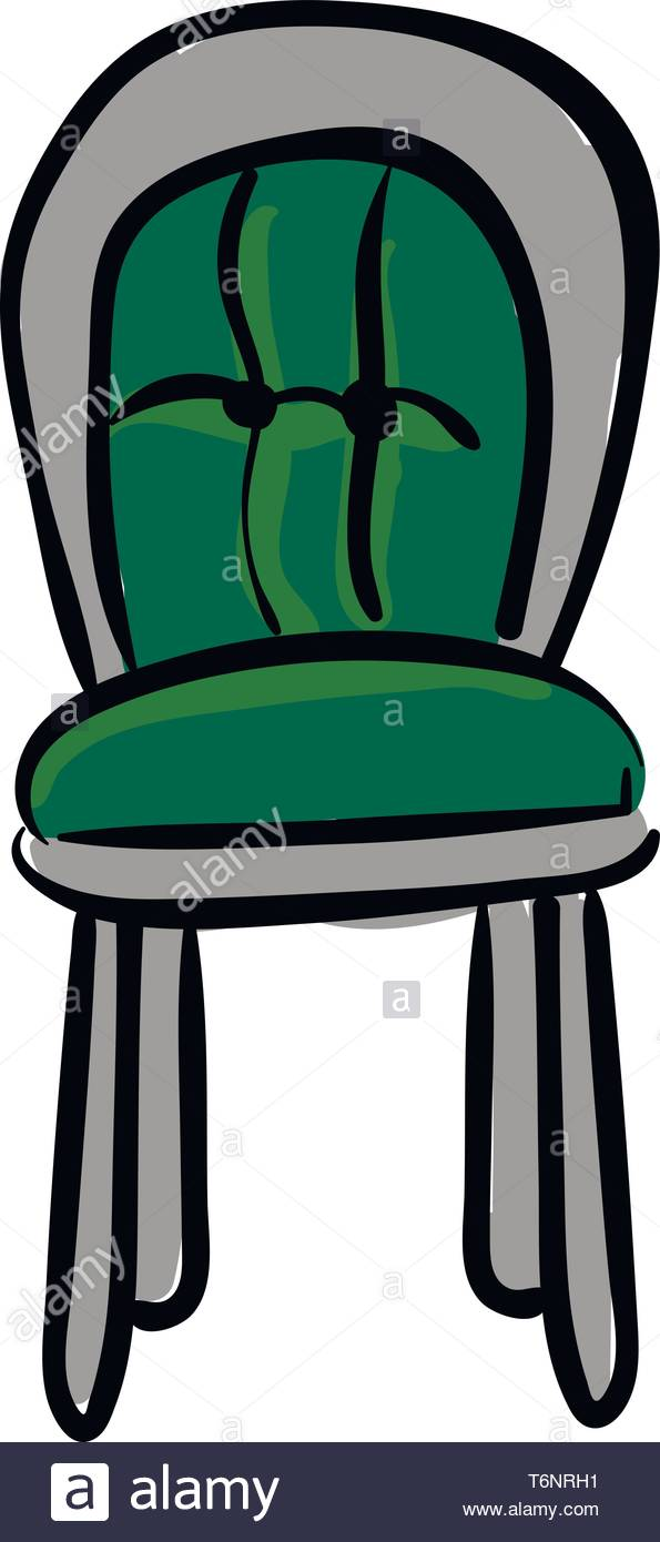 Clipart of a chair with green cushioned back support and seat has.