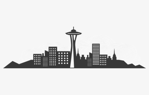 Free Seattle Skyline Silhouette Clip Art with No Background.