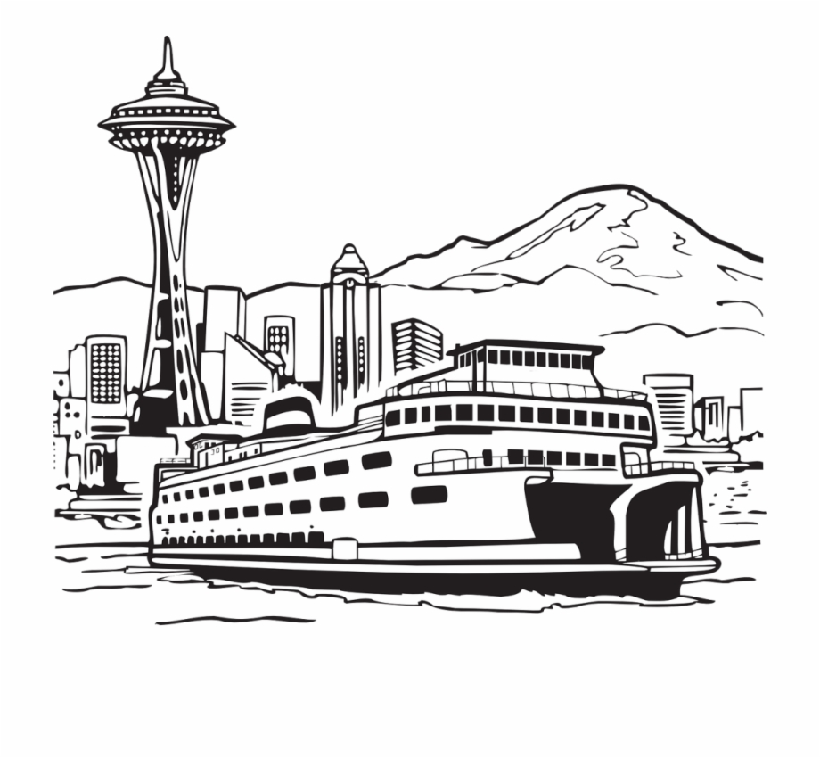 Seattle Skyline Png Ferry Clipart Black And White.