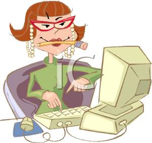 of a Secretary Typing on a Computer with a Pencil In Her Mouth.