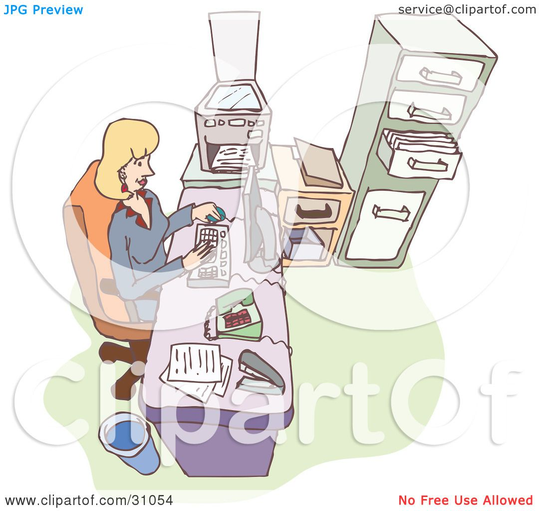 Clipart Illustration of a Blond Caucasian Woman, Boss Or Secretary.