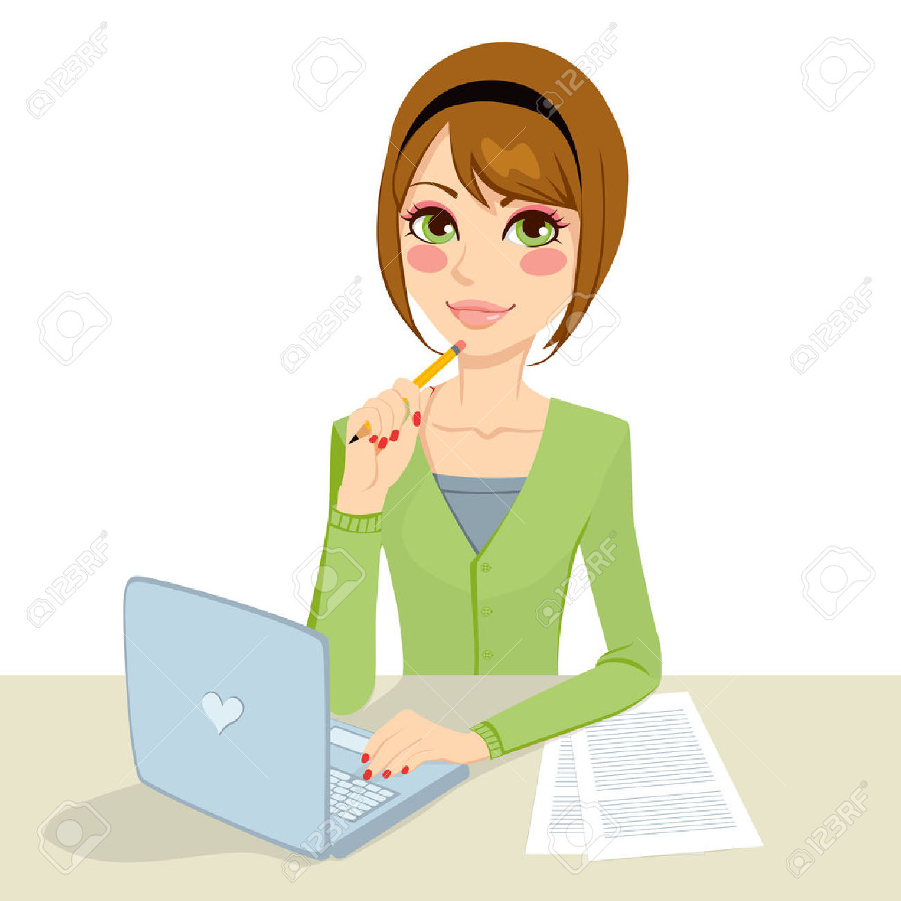 clipart secretary typing - Clipground