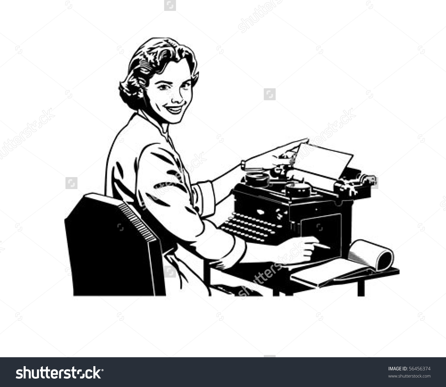 Retro Secretary Retro Clip Art Stock Vector 56456374.