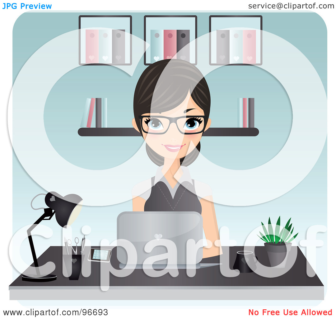 Clipart Secretary Typing.