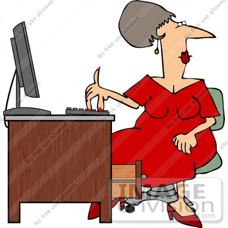Multi Tasking Secretary Typing While Looking Away Clipart.