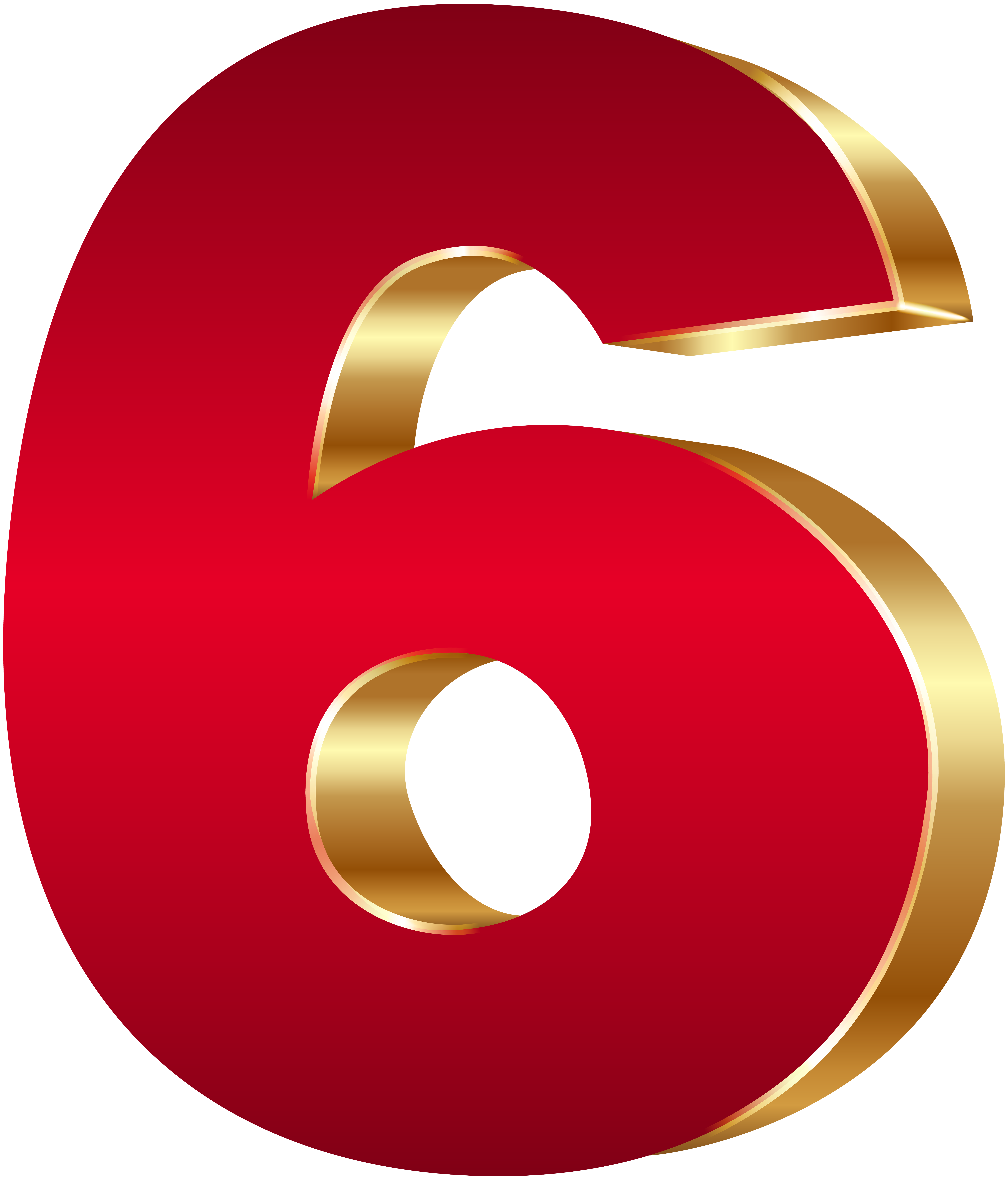 3D Number Six Red Gold PNG Clip Art Image.
