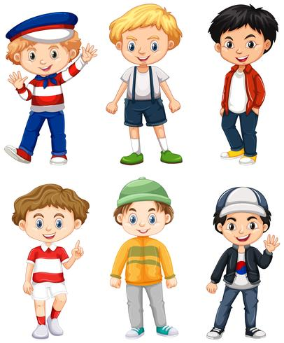 Six boys in different costume.
