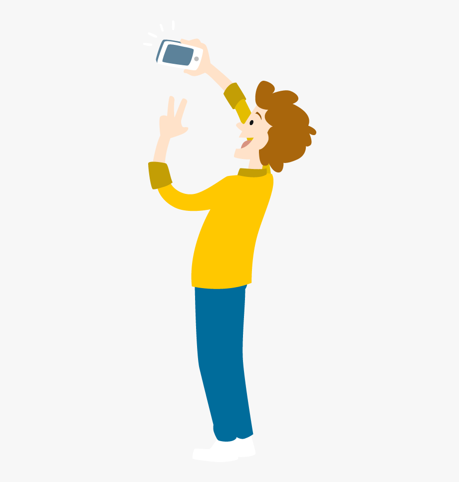 Cartoon Young Man Take Selfie By Smartphone.