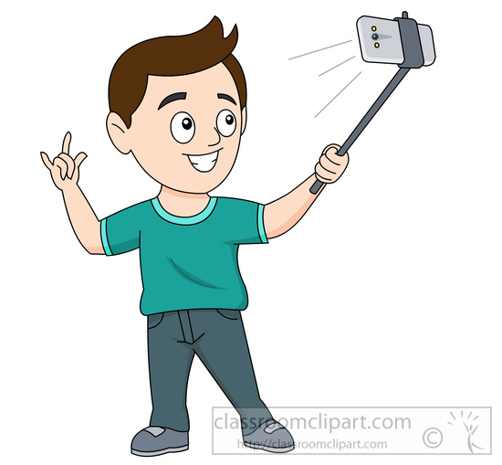 Taking a selfie using a selfie stick clipart » Clipart Station.