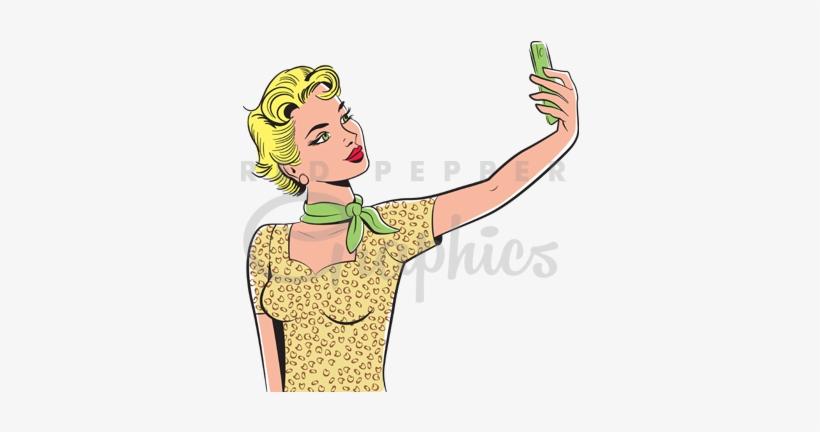 Retro Selfie Girl Clipart.