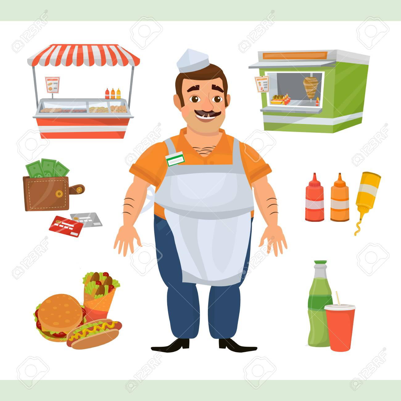 Clipart illustration with street food seller character, two stands...