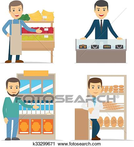 Seller at the counter vector illustration Clipart.