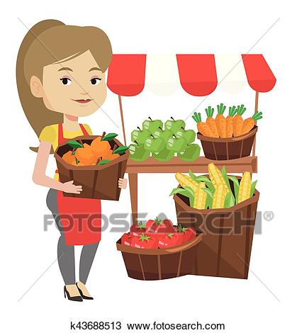 Street seller with fruits and vegetables. Clipart.