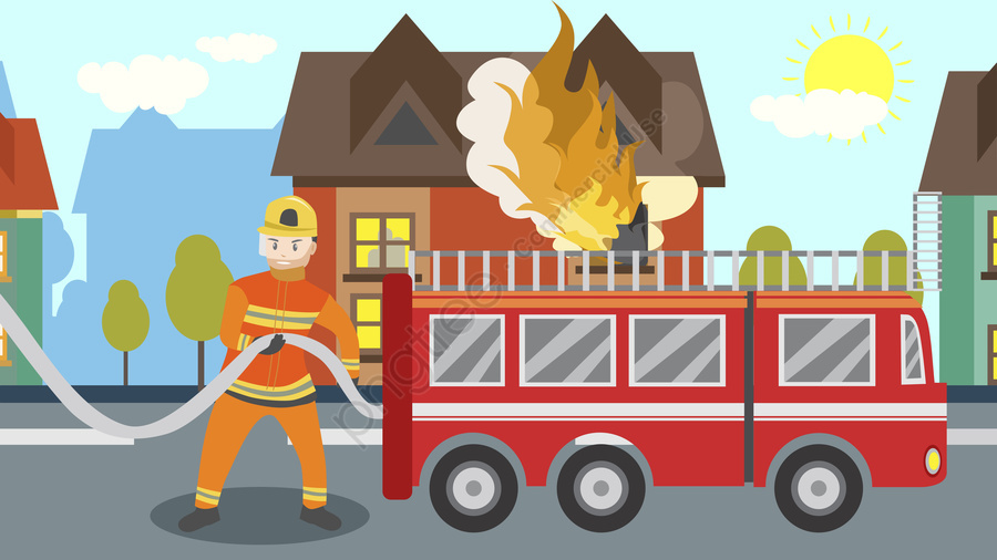 Firefighter clipart scene, Firefighter scene Transparent.