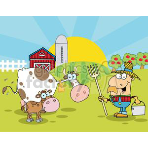 Country Farm Scene With Cow And Cowman clipart. Royalty.