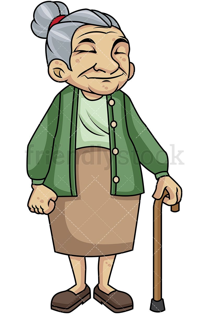Old Woman With Walking Stick.