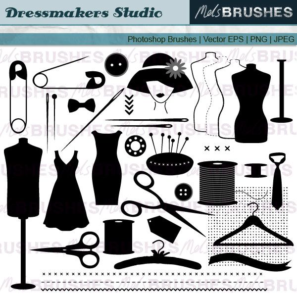 Here is a set of clip art illustrations of dressmaking and.