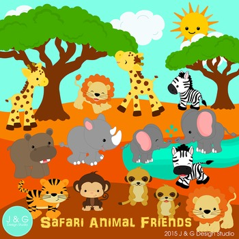 Safari Animal Friends Series 4 Digital Clipart.