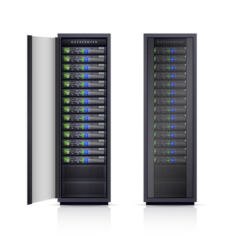 Two Black Server Racks Realistic Illustration.