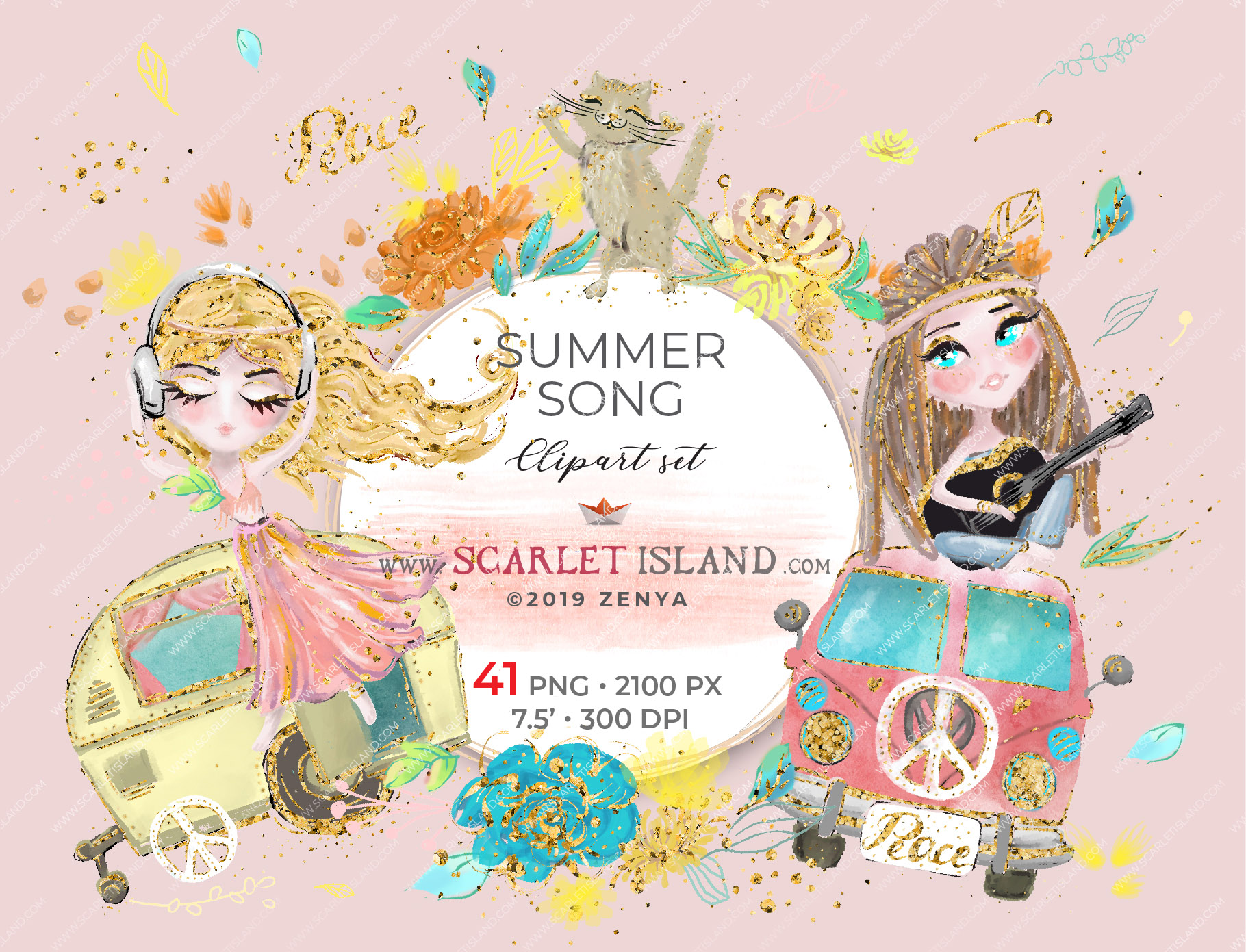 Summer Song Clipart Set.