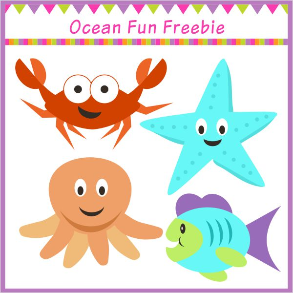 Free Ocean Fun mini clipart set.