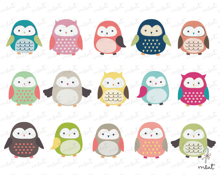 Cute Owl Clip art 15 Digital Clipart Set for by memomint on Etsy.