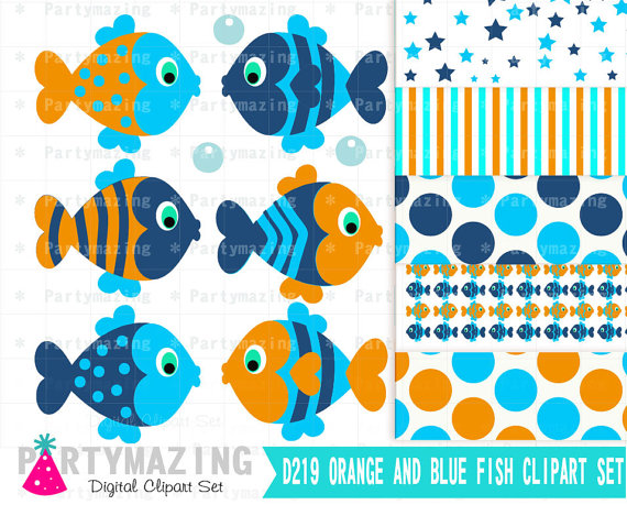 Fish Clipart Set Blue and Orange Under the sea fish by Partymazing.