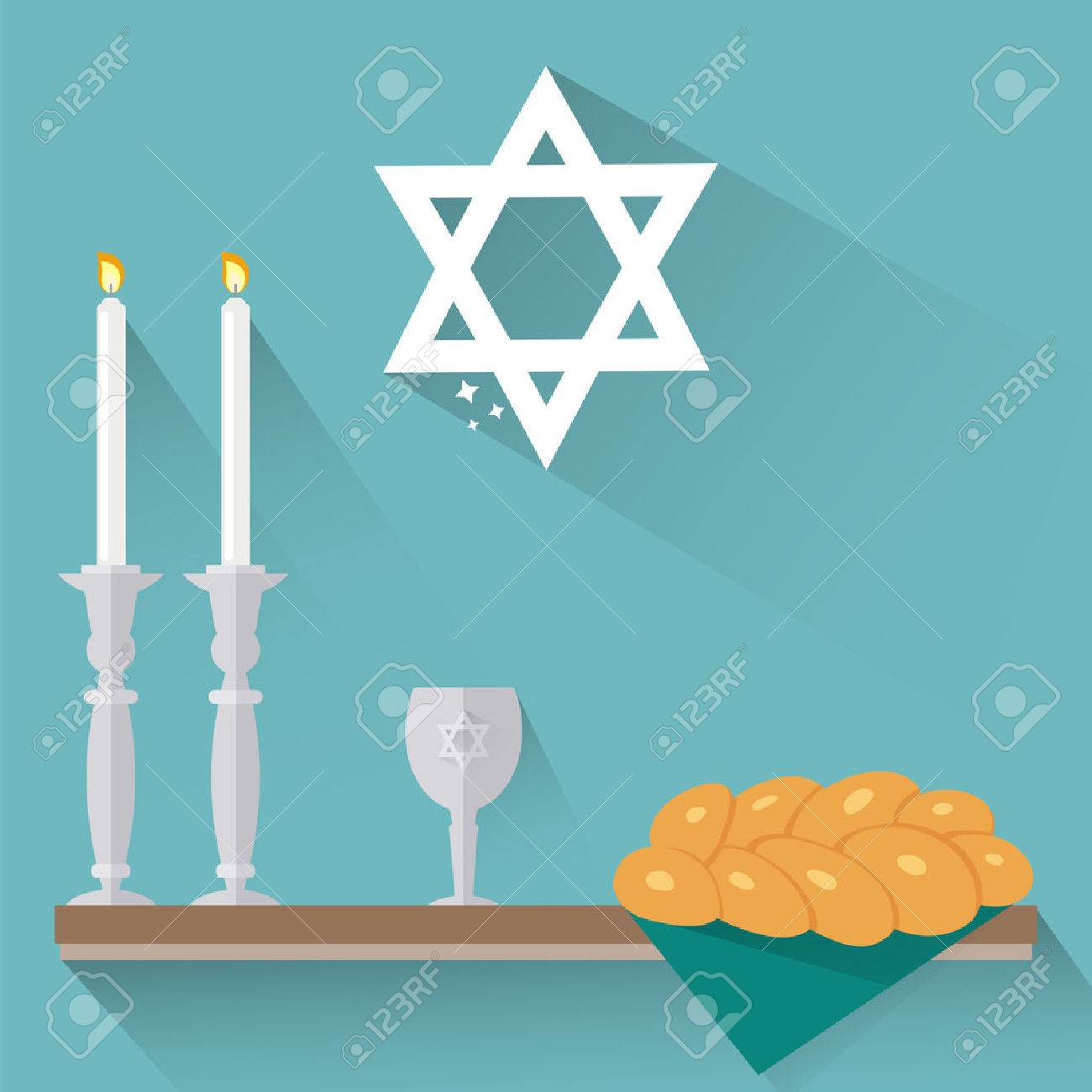 Shabbat candles, kiddush cup and challah in flat style..