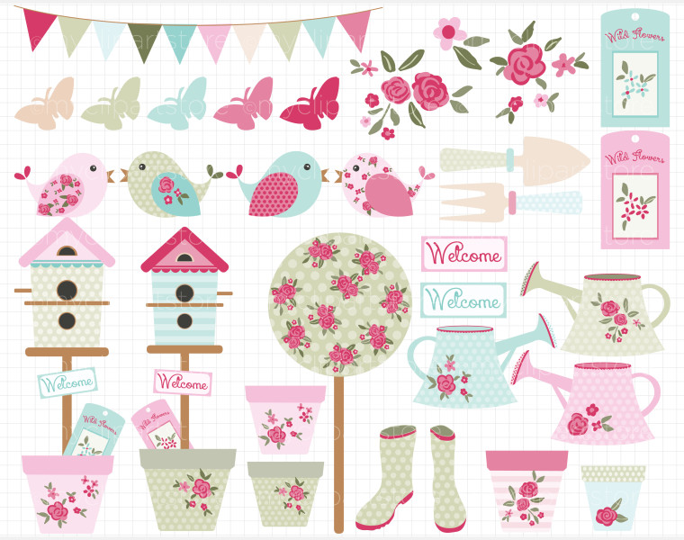 Shabby chic flowers clipart 13 » Clipart Station.