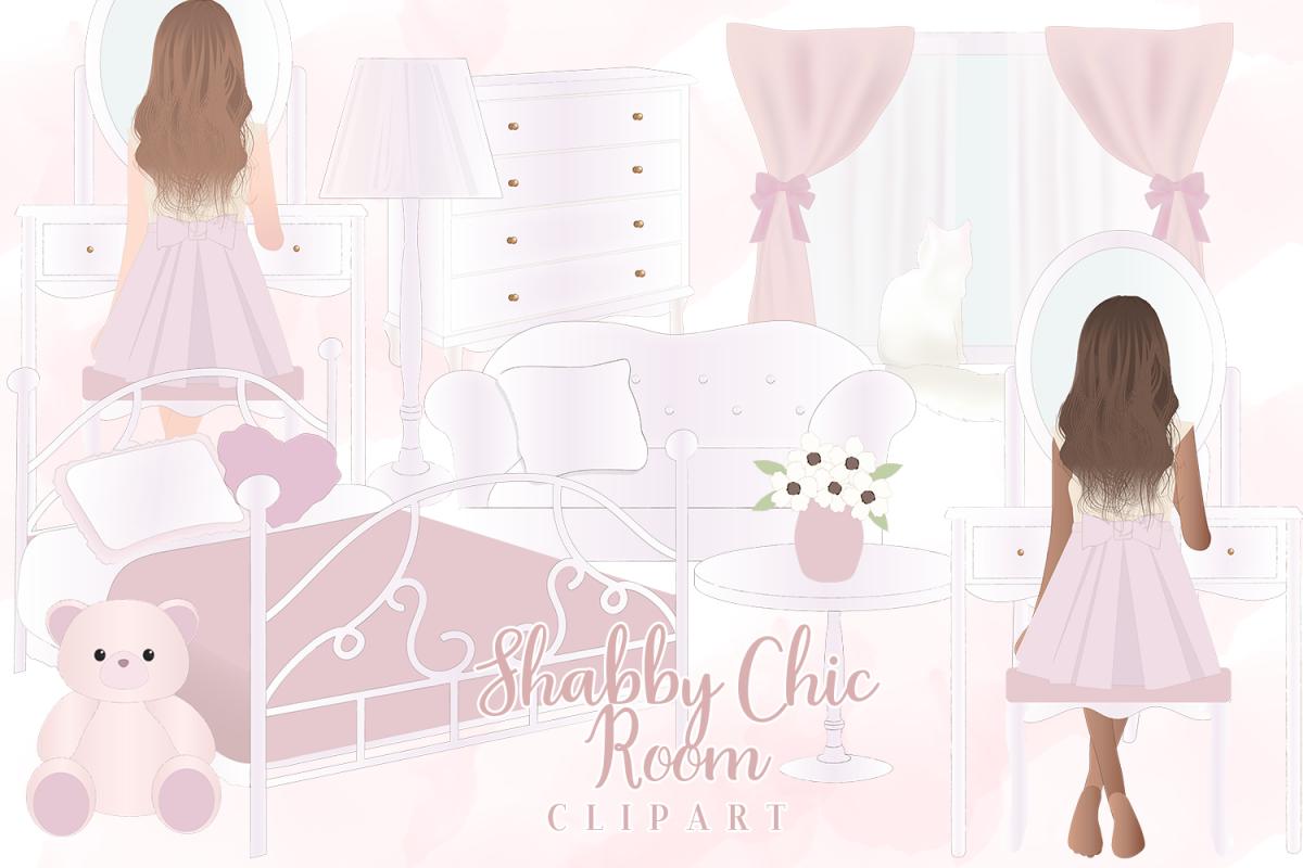 Shabby Chic Girl Room Clipart.