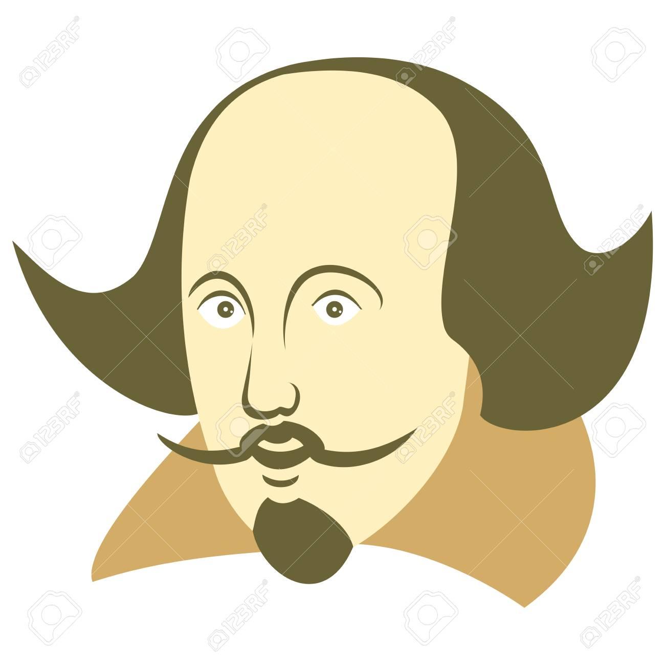 Vector illustration of William Shakespeare in cartoon style on...