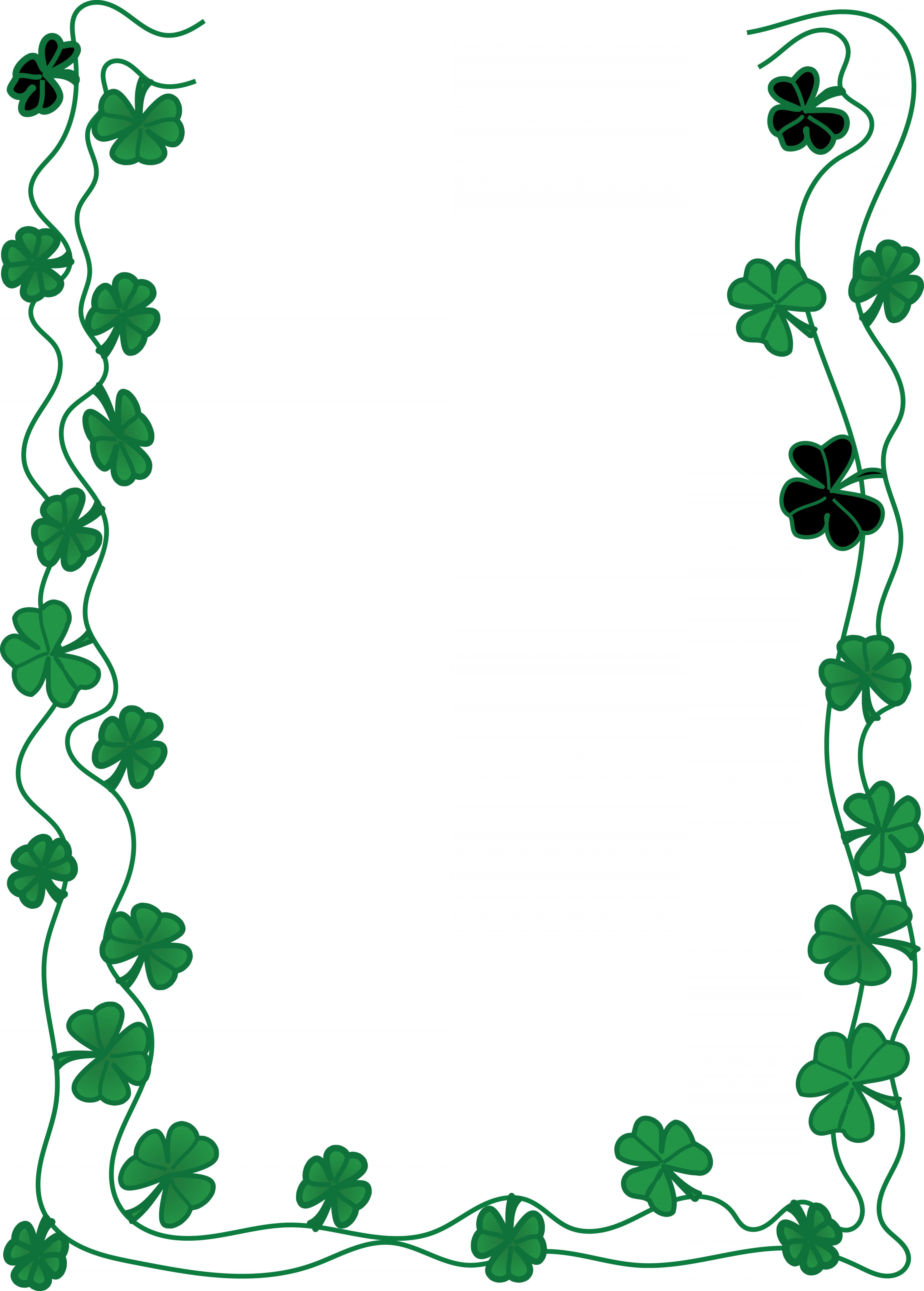 Free Clipart Of A St Patricks Day Shamrock Clover Border.