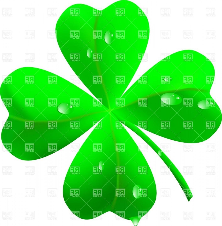 Symbol Of St Patricks Day Four Leaf Clover Shamrock Vector Clipart.